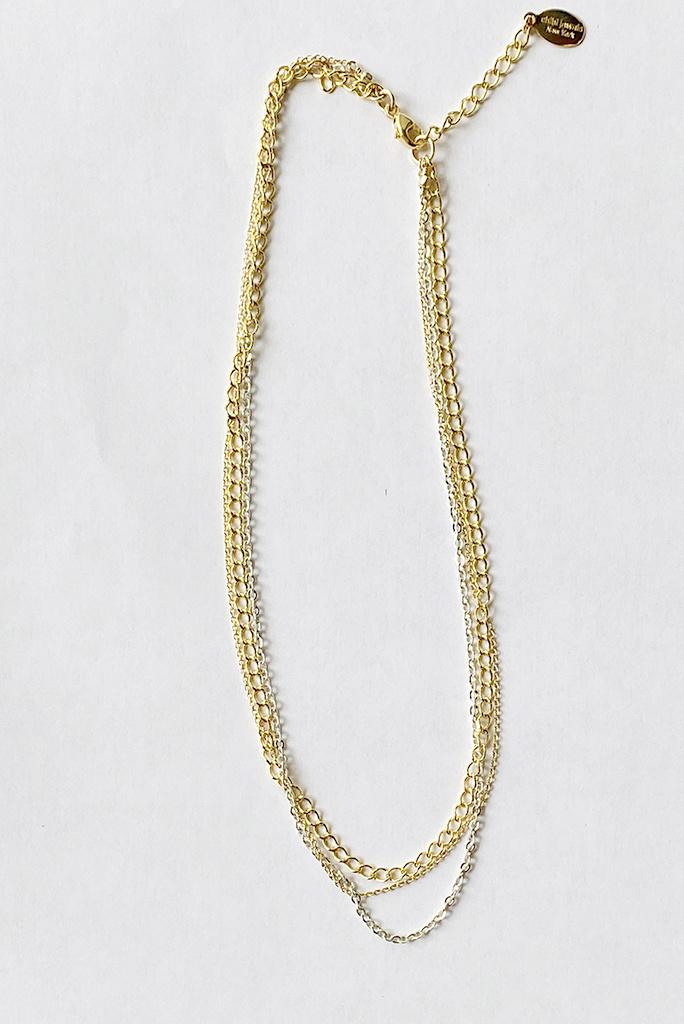 Triple Mix Chain Choker Necklace