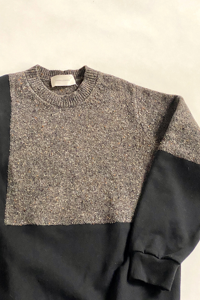 Correll Correll Ecke Black and Grey Sweatshirt with Knit Panel