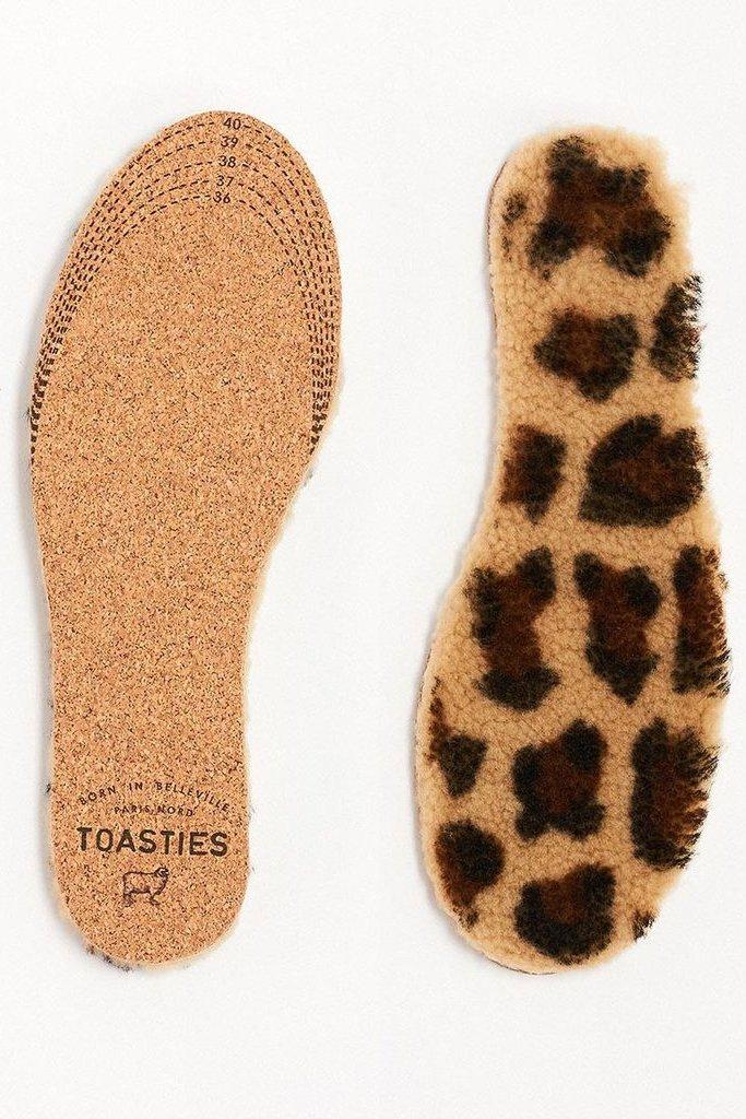 Toasties Insoles in Leopard Print Sheepskin