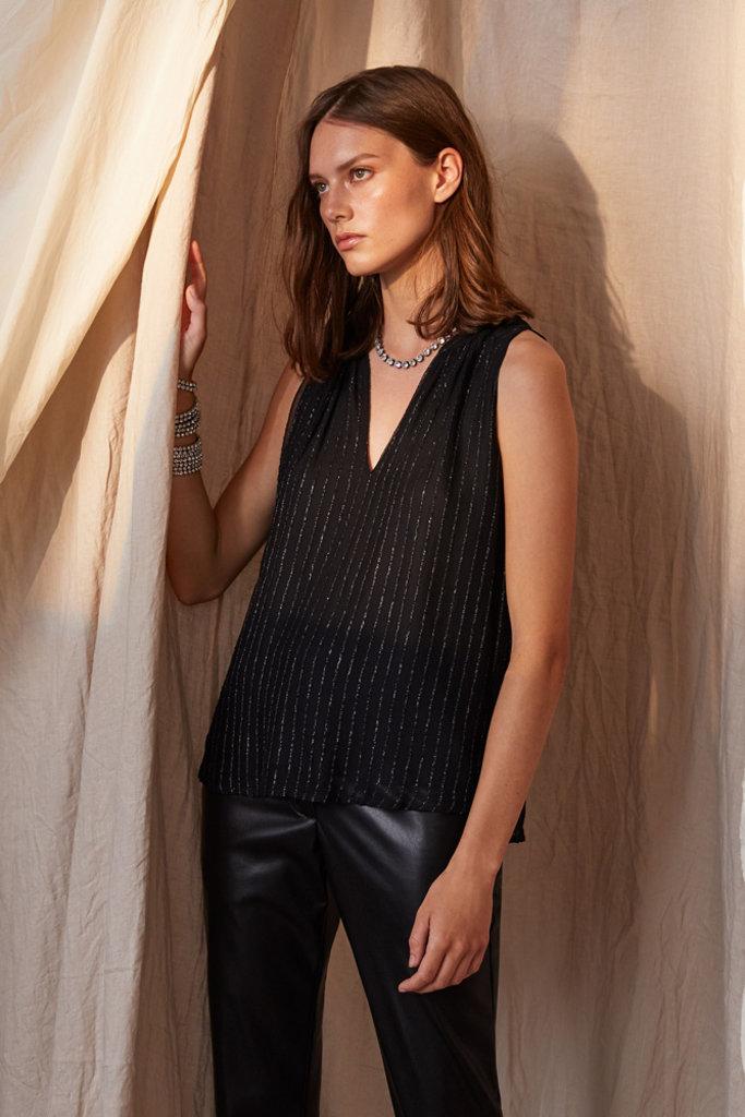 Velvet Pollie Sleeveless Top with Silver Stripe - Size M
