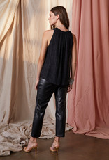 Velvet Pollie Sleeveless Top with Silver Stripe Detail