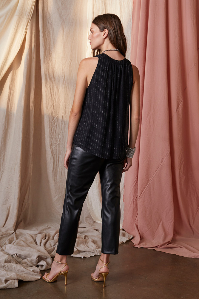 Velvet Pollie Sleeveless Top with Silver Stripe -Size M