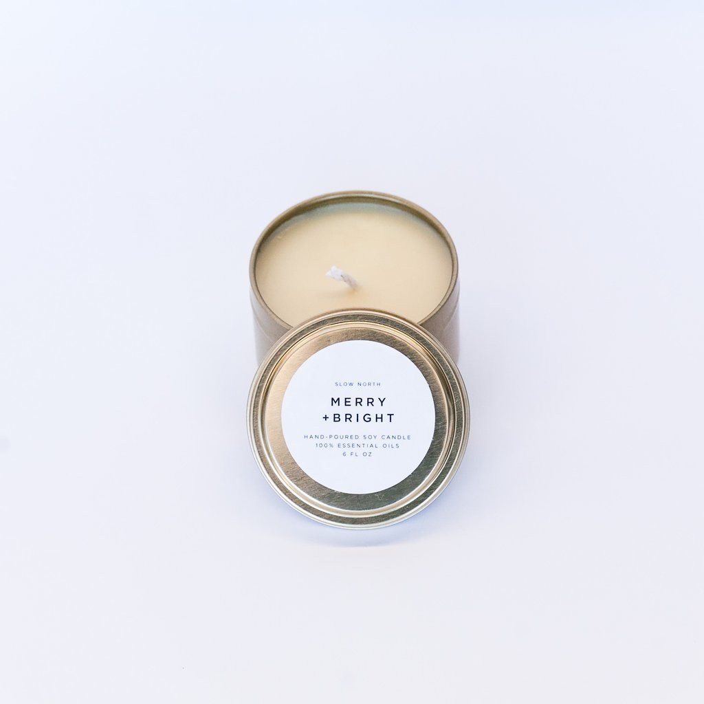 Slow North Merry + Bright Tin Candle 6oz
