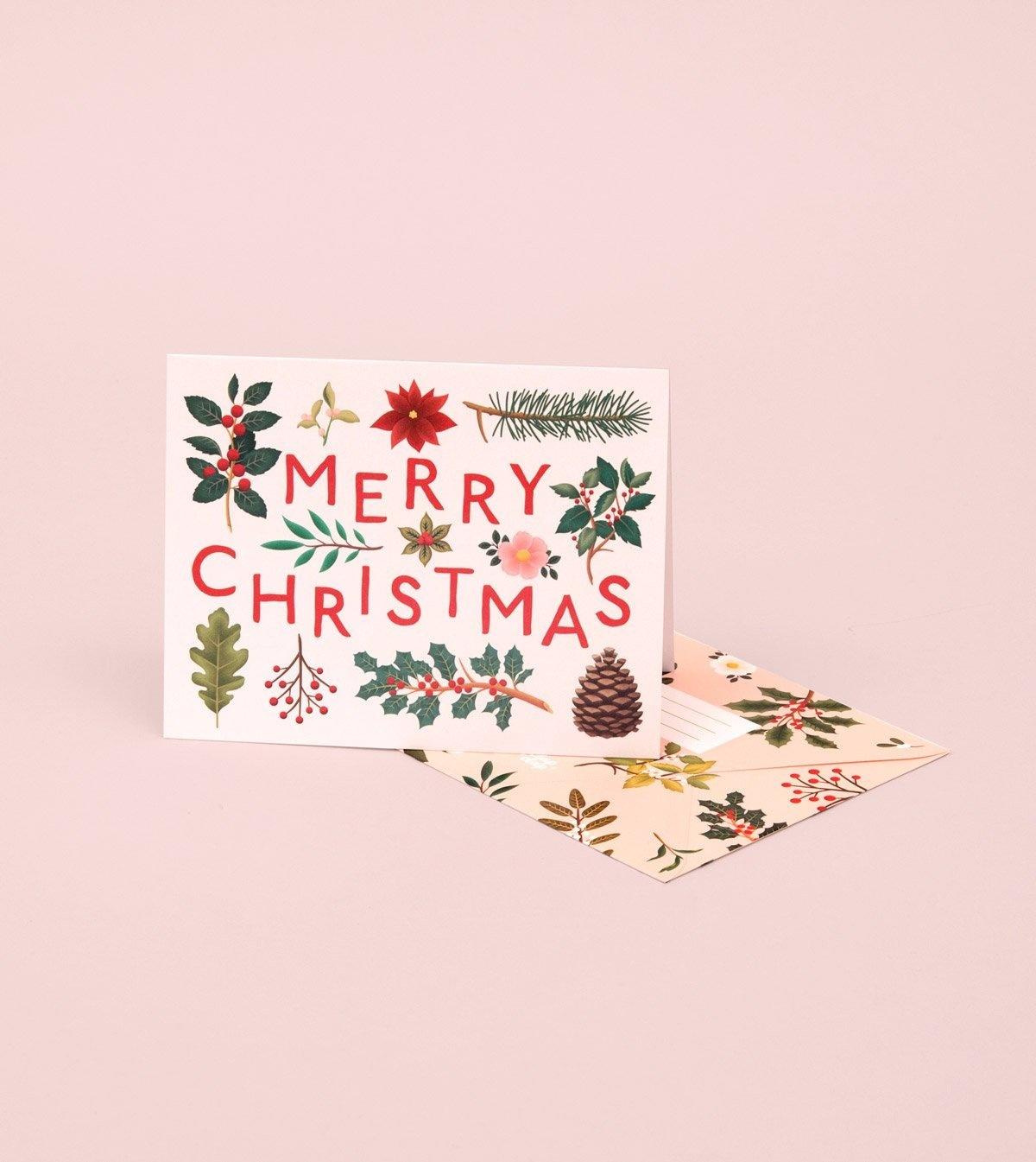 Mistletoe Card - Cream