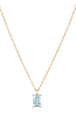 Trois Petits Points 18kt Gold Aquamarine Baguette Necklace
