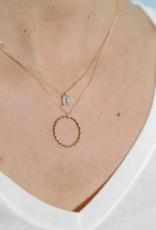 18kt Gold Aquamarine Baguette Necklace