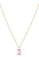Trois Petits Points 18kt Gold Pink Tourmaline Baguette Necklace