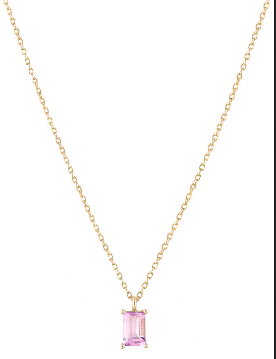 18kt Gold Pink Tourmaline Baguette Necklace