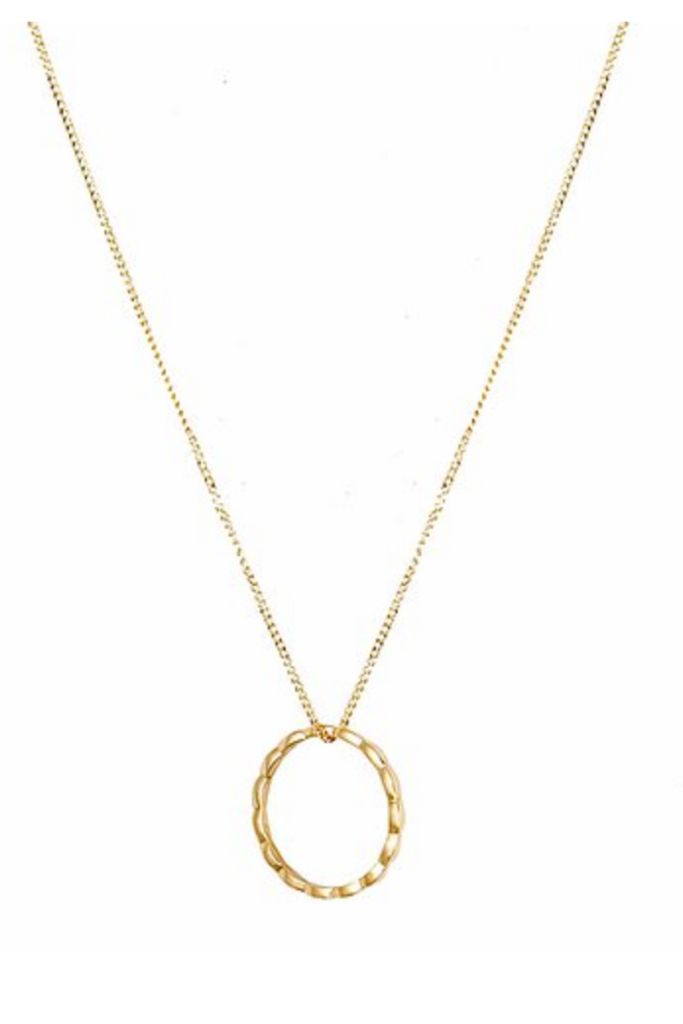 18kt Gold Circle Navette Necklace