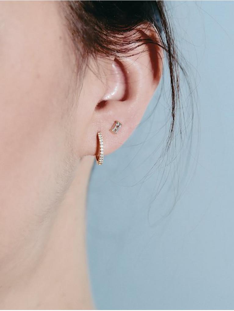 Pink Tourmaline Baguette Earrings