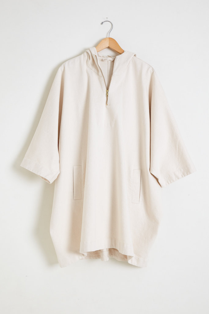 Monica Cordera Hooded Poncho in Natural Cotton Drill