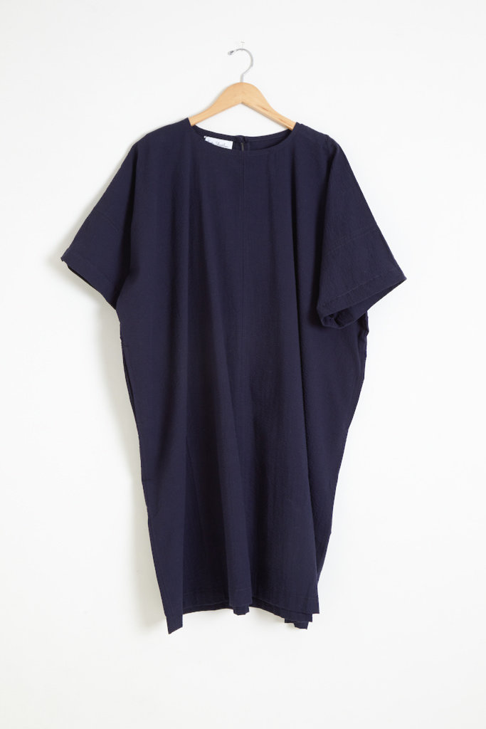 Kate Sheridan Ltd Kate Sheridan Edie Oversized Dress in Navy Seersucker
