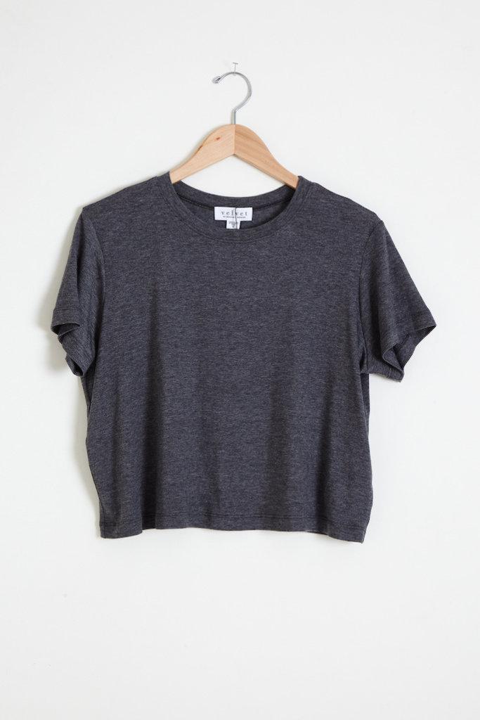 Velvet Sky Short Sleeve Charcoal Top
