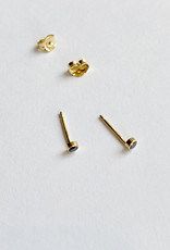 Trois Petits Points Tiny Solitaire Black Diamond Earrings - 18kt Gold