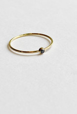 Solitaire Black Diamond Ring 18kt Gold