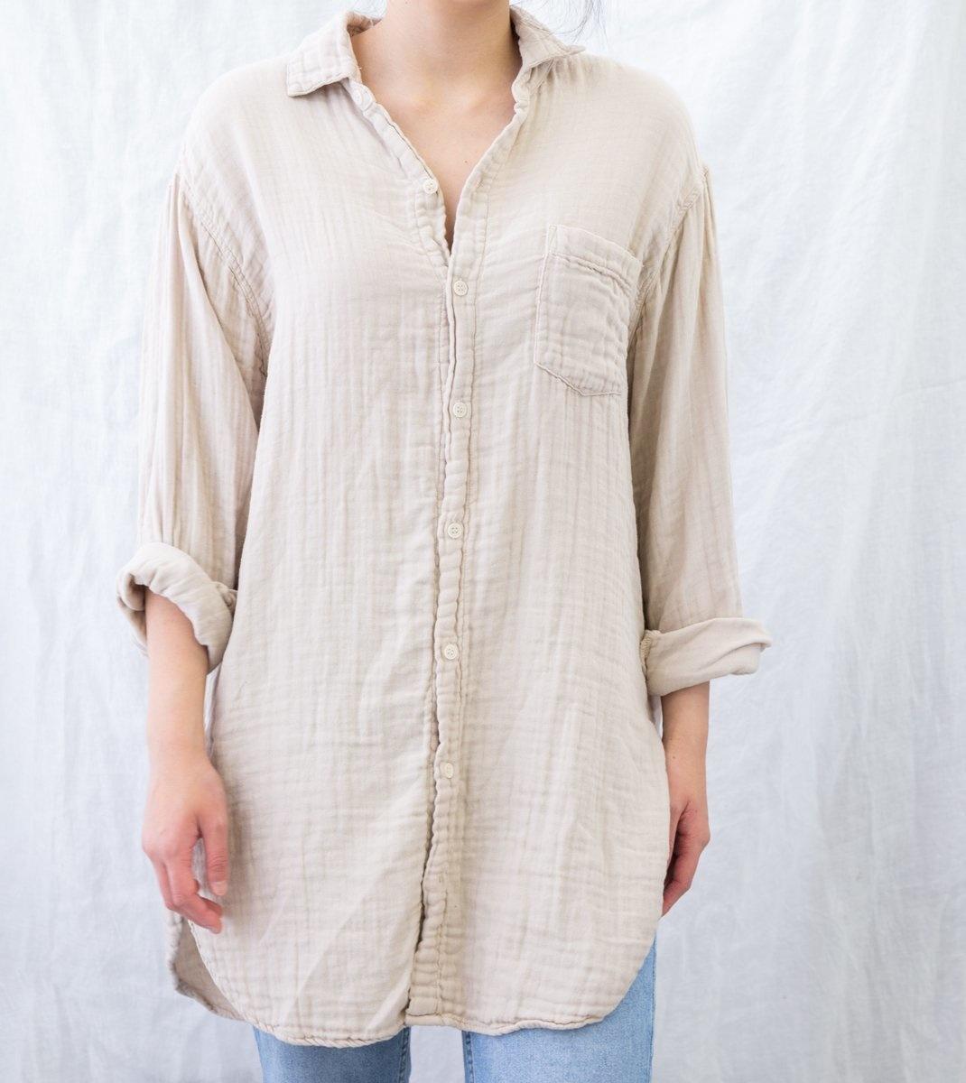 Marella Tunic Length Cotton Gauze Shirt