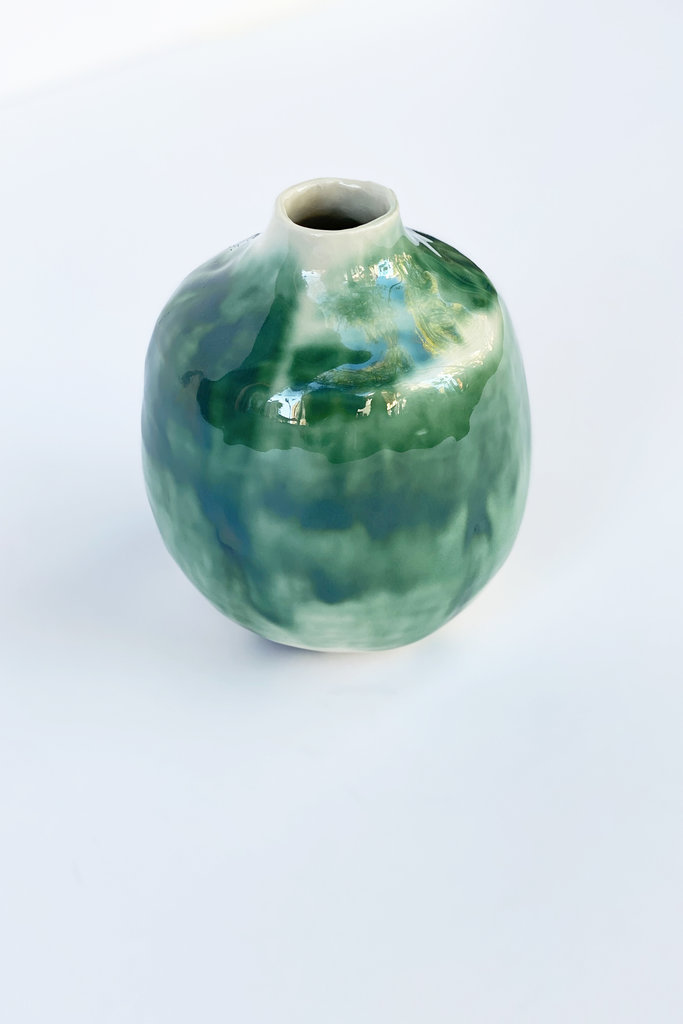 Alice Cheng Studio Porcelain Green Oxide Small Vase