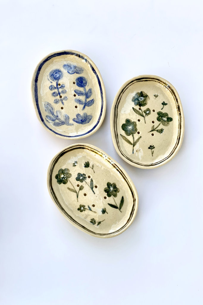 Alice Cheng Studio Heirloom Floral Soap Dishes