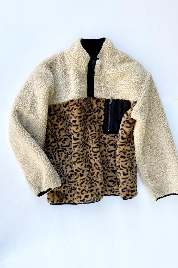 Rails Saga Fleece Pullover Cream Leopard Mix