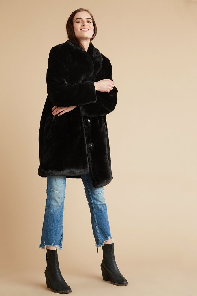 Bella Dahl Fur Midi Coat - Size M