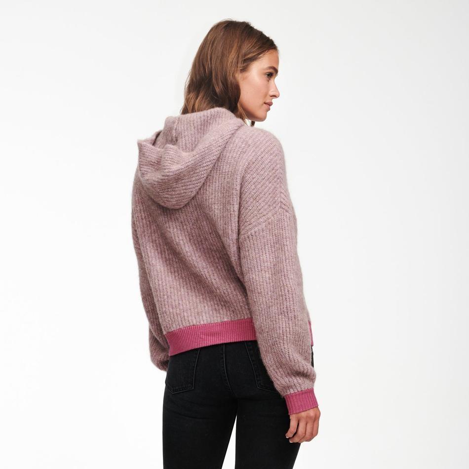 Naadam Drop Shoulder Cowl Neck Hoodie Lilac Cashmere