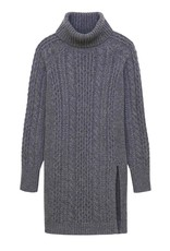 Naadam Cable Turtleneck Sweater in Granite Wool/Cashmere Blend