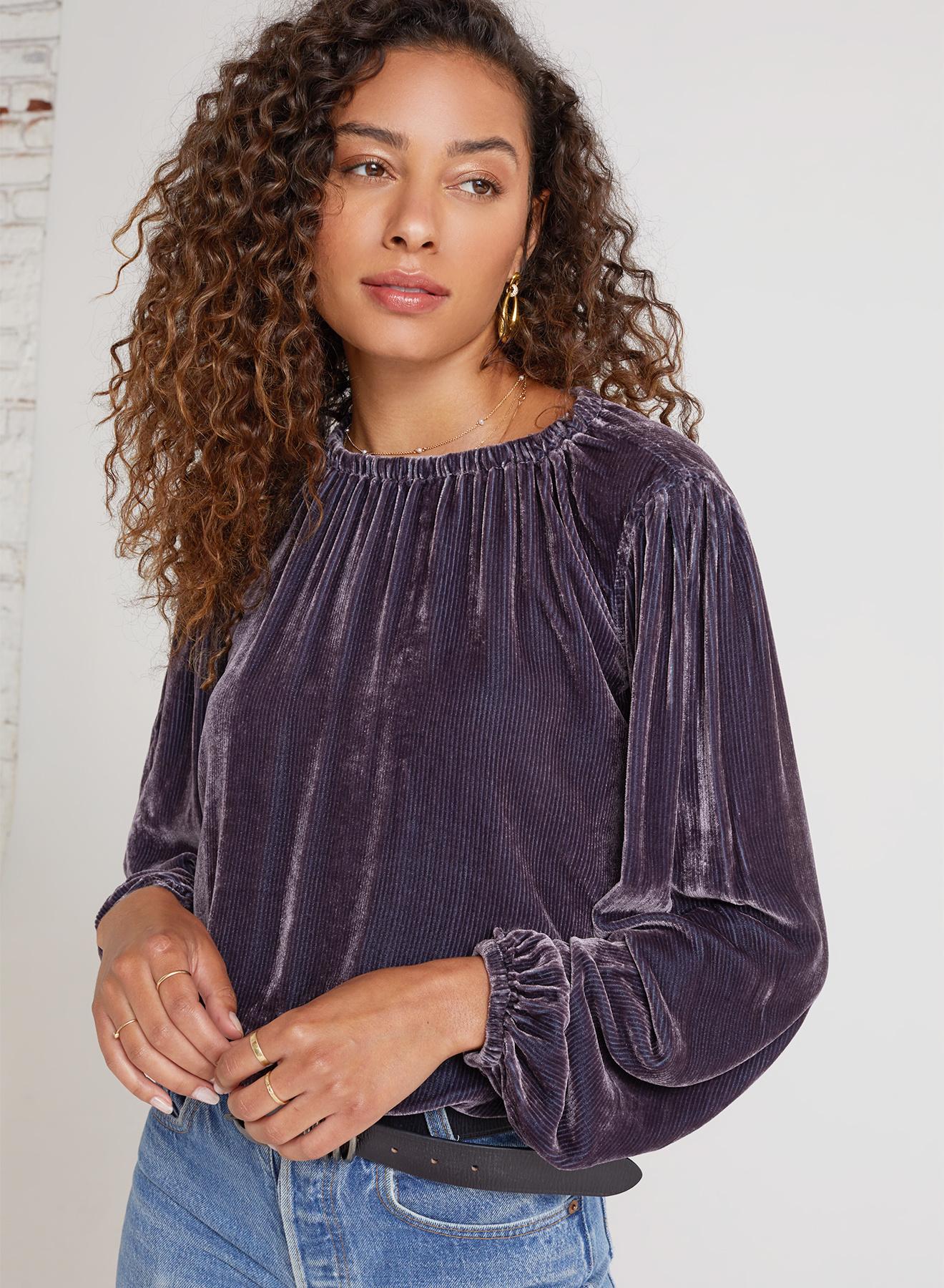 Elastic Shirred Velvet Top