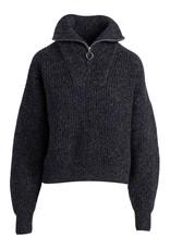 Naadam Quarter Zip Cashmere Pullover Marl Black
