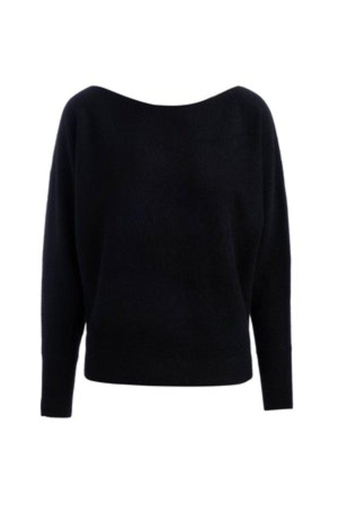 Naadam Boatneck Pullover Black Cashmere - Size S