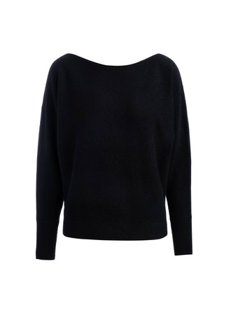 Naadam Boatneck Pullover Black Cashmere