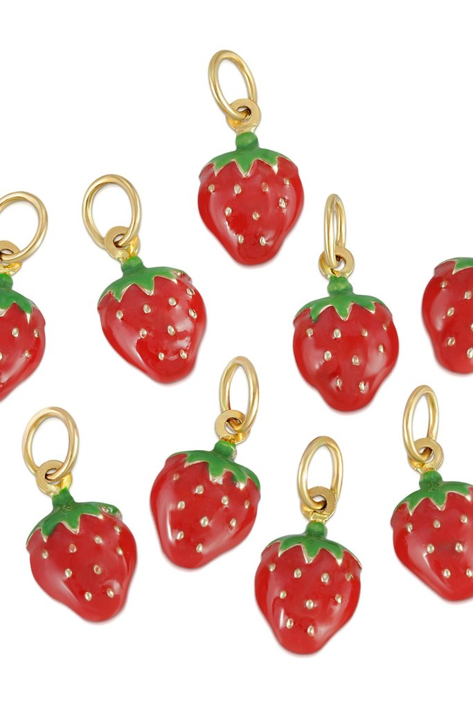 Hortense Strawberry Charm Enamel and 14kt Solid Gold