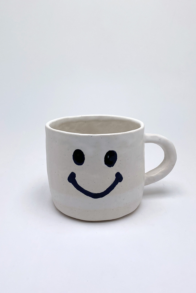 Alice Cheng Studio Large White Smiley Face Mug