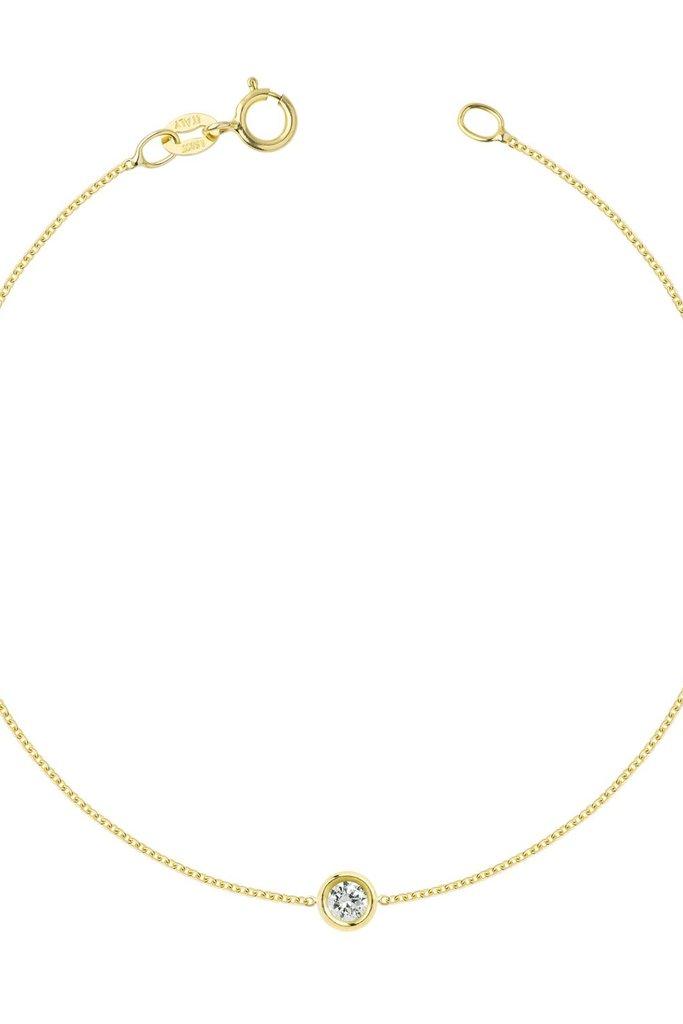 Hortense Flirty 2.5mm White Diamond Bracelet 14kt Yellow Gold