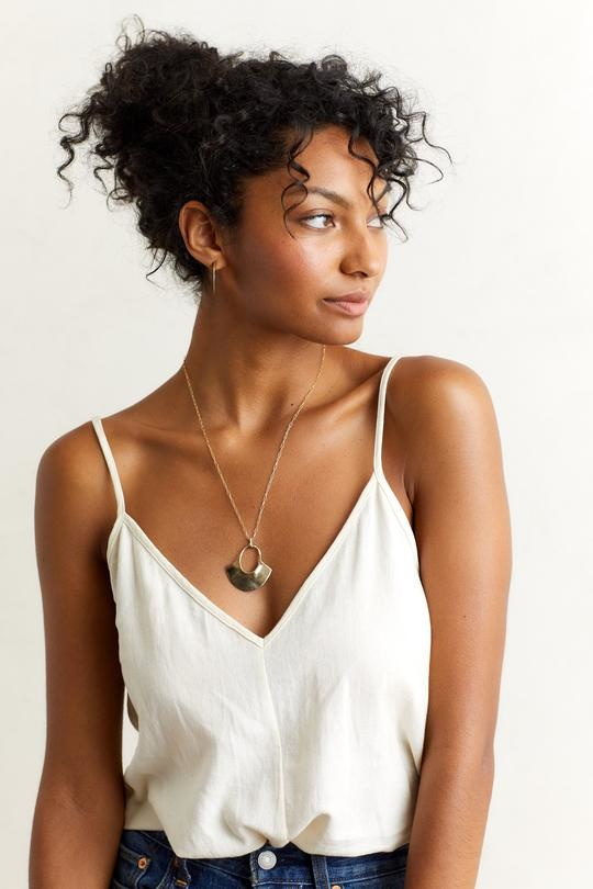 """Solis Pendant Necklace 20"""" Brass/Gold Fill Chain"""