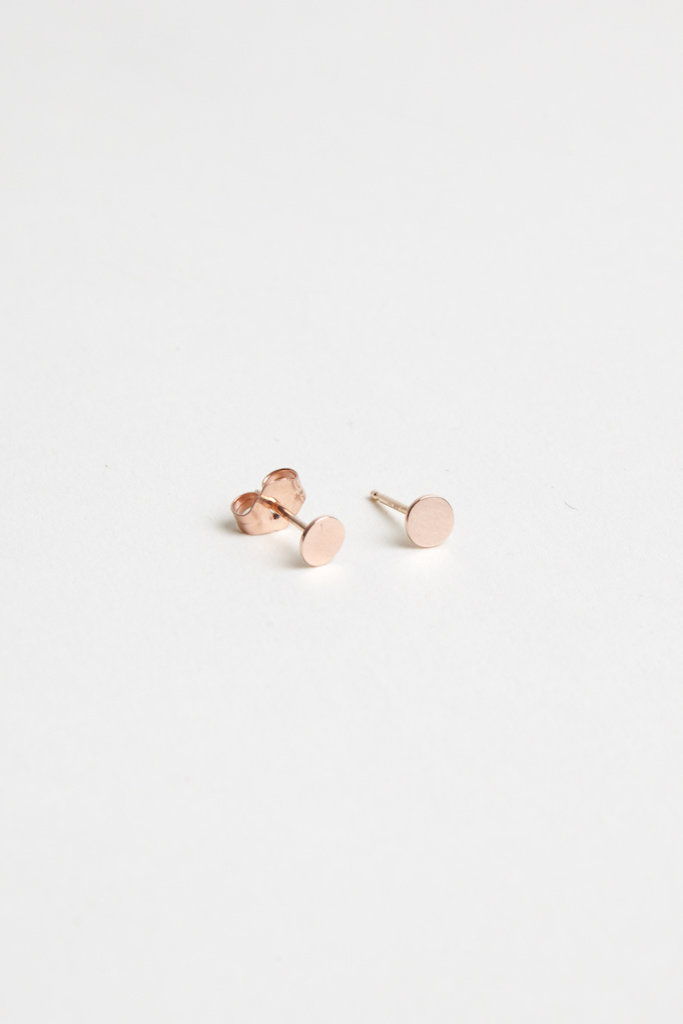Hortense Small Moon Studs Rose Gold - PAIR