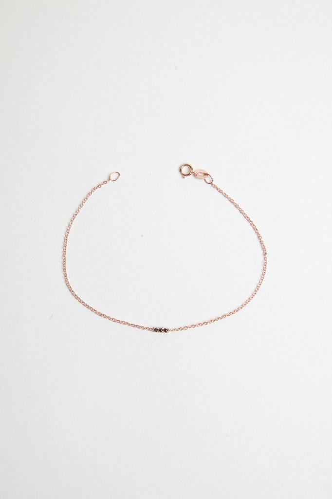 Hortense Licorice Bracelet 14kt Rose Gold with Black Diamonds