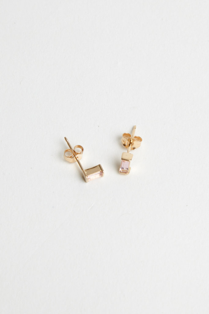 Trois Petits Points Pink Tourmaline Baguette Earrings