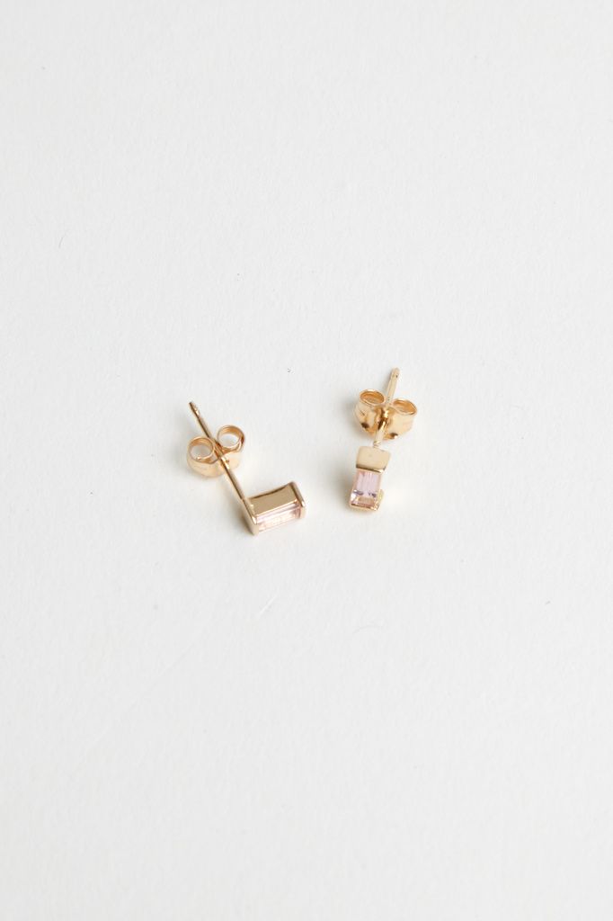 Trois Petits Points Pink Tourmaline Baguette Earrings