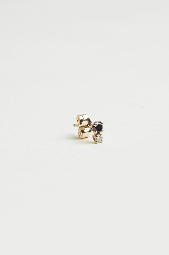 Hortense Double D Stud Black Diamonds Yellow Gold - Single