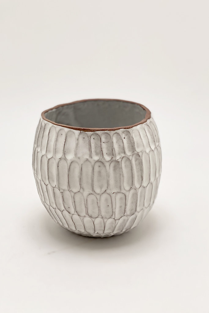 Alice Cheng Studio Round Carved Planters