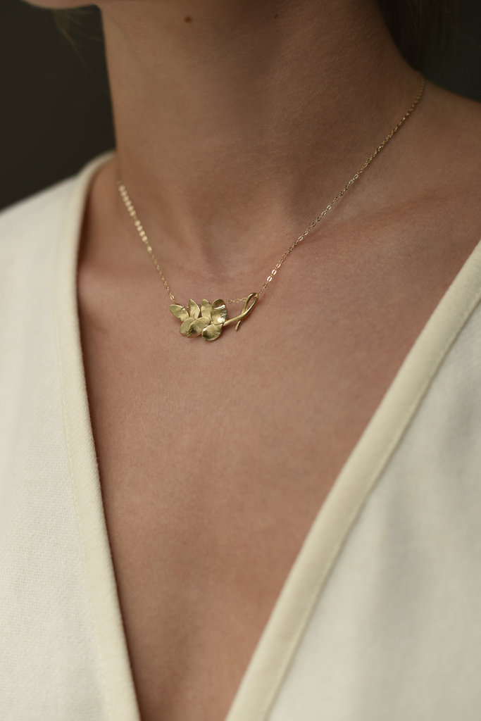 Brass Leaf Necklace Gold Fill Chain