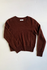 Naadam Cropped Crew Pullover in Maroon Cashmere