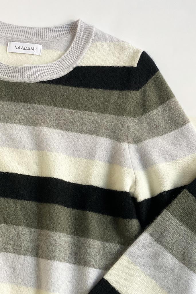 Naadam Striped Crew Pullover in Tonal Grey Cashmere