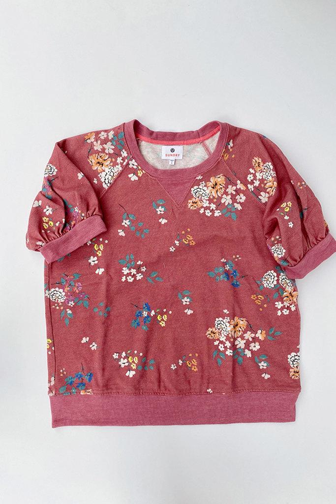 Sundry Floral Puff Sleeve Raglan Sweatshirt