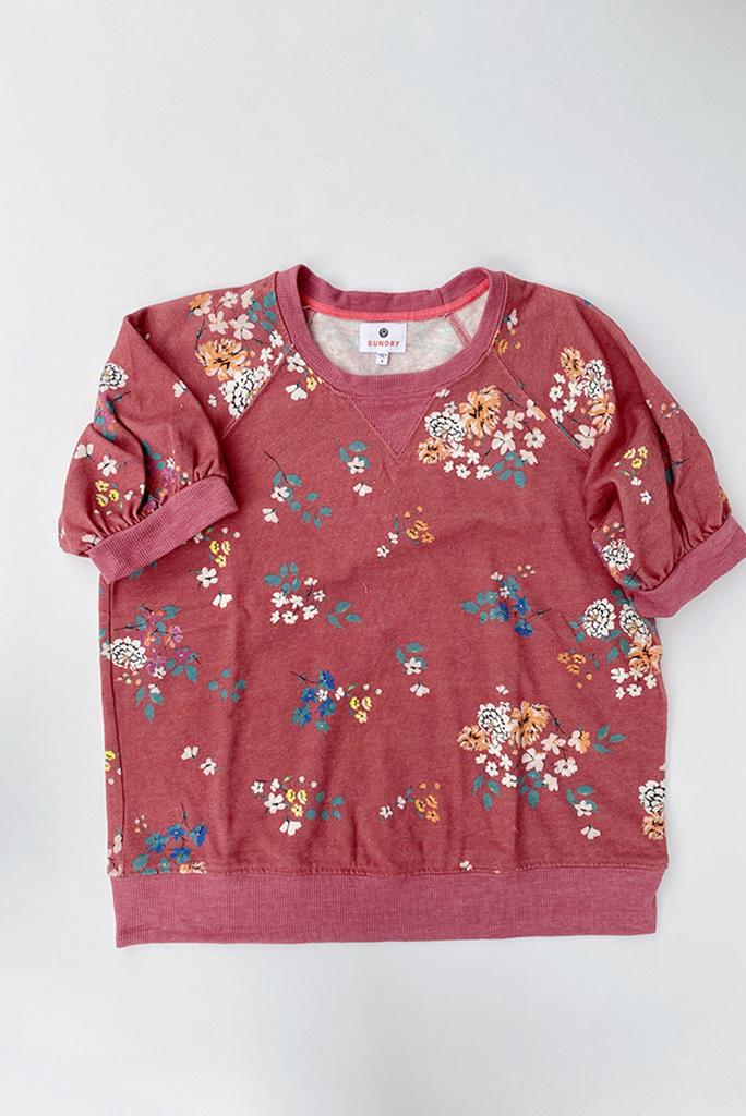 Sundry Floral Puff Sleeve Raglan Sweatshirt - size 0