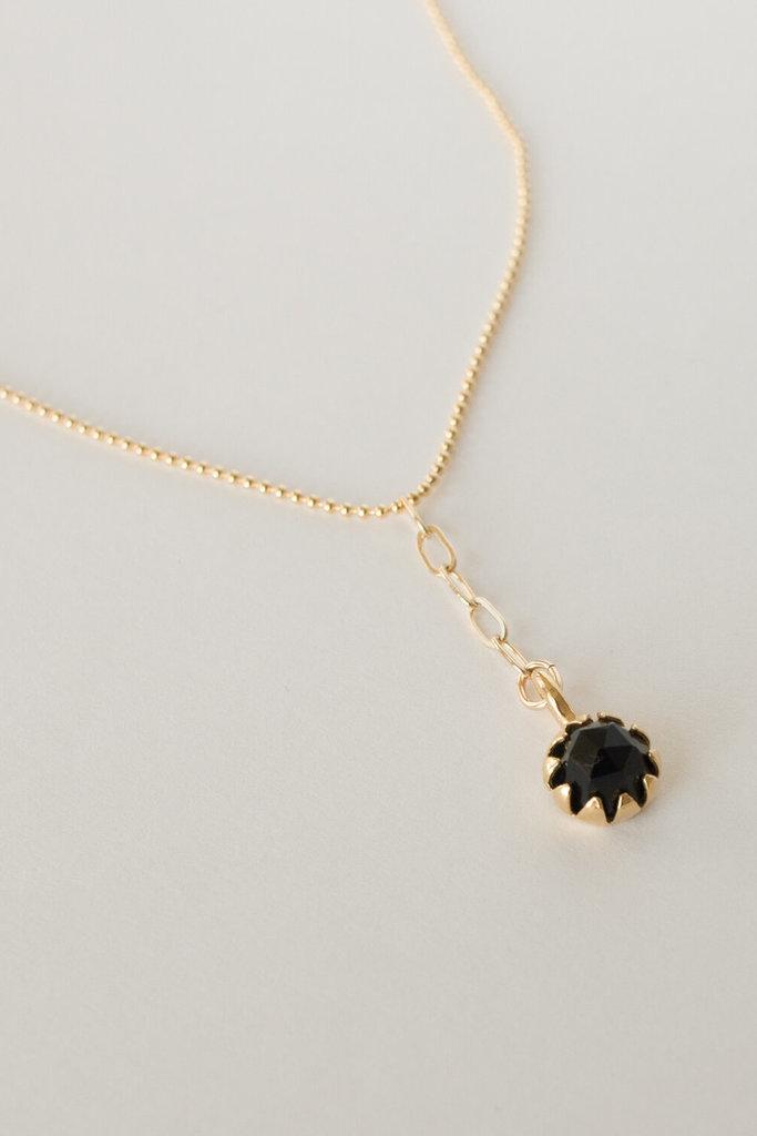 Merewif Black Onyx Moon Bloom Necklace
