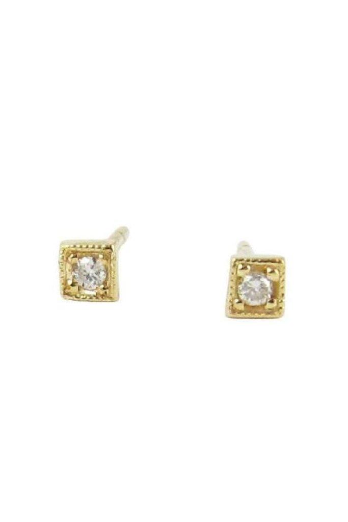 Jennie Kwon Diamond Mini Square Studs 14KT gold Pair