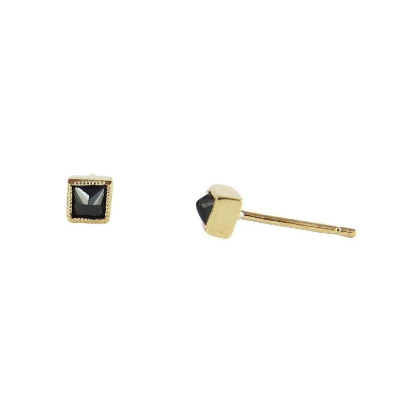 Jennie Kwon Square Black Diamond 14kt Gold Studs Pair