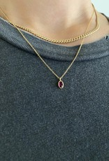 Jennie Kwon Oval Ruby Wisp Necklace 14KT Gold
