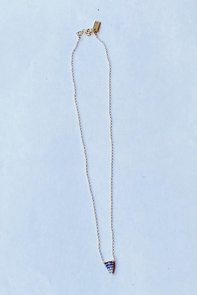 Iwona Ludyga Storm Flag lilac necklace GF Glass Beads
